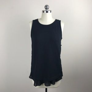 Ann Taylor Loft Side Button Black Tank Sz S